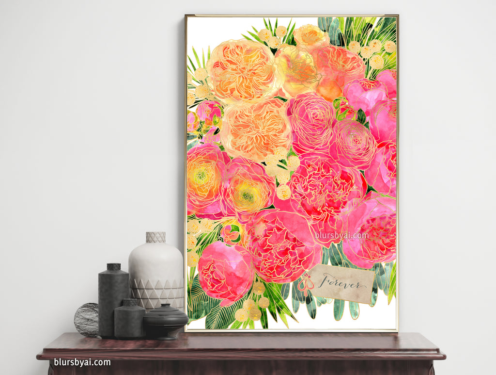 "Custom art print - A peony bouquet that won't wither, ""Rekha"" in pink and orange"