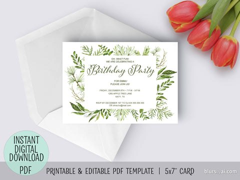 Editable pdf birthday party invitation template: watercolor greenery