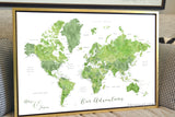 A blursbyai's custom world map with cities, canvas print or push pin map according to our messages. Map141 or map191