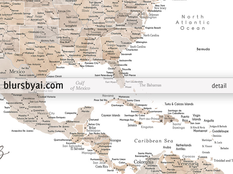"Personalized PRINTABLE map of the USA and the Caribbean sea. ""Abey"", edit-it-yourself using CORJL - Instant download for PERSONAL USE"