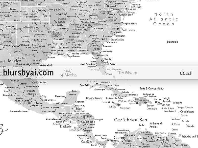 "Personalized PRINTABLE map of the USA and the Caribbean sea. ""Jimmy"", edit-it-yourself using CORJL - Instant download"