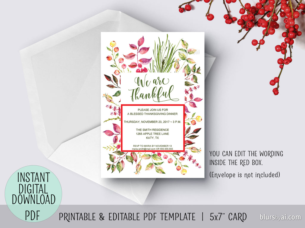 Editable pdf Thanksgiving invitation template: Floral We are Thankful