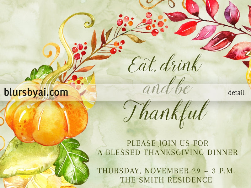 Editable printable Thanksgiving party invitation: fall flowers and pumpkins wreath - Edit with Corjl