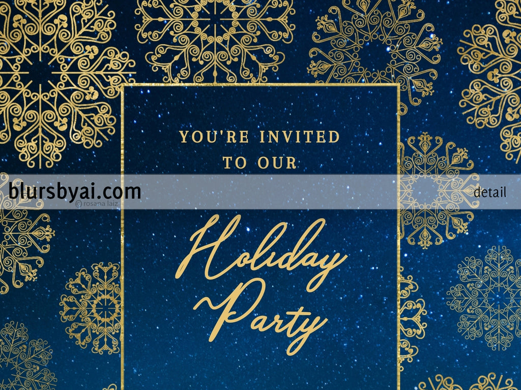Editable printable holiday party invitation: gold lace snowflakes - Edit with Corjl