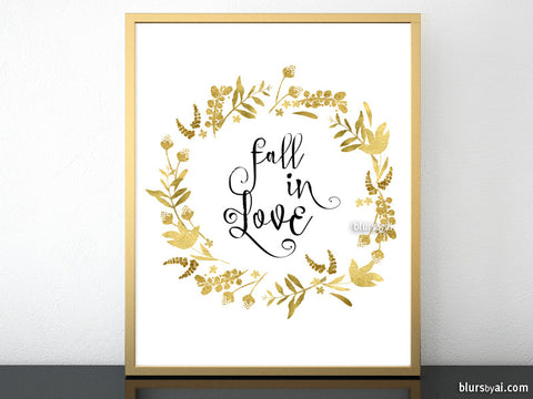 Fall in love, printable fall decor featuring gold flowers and leaves wreath