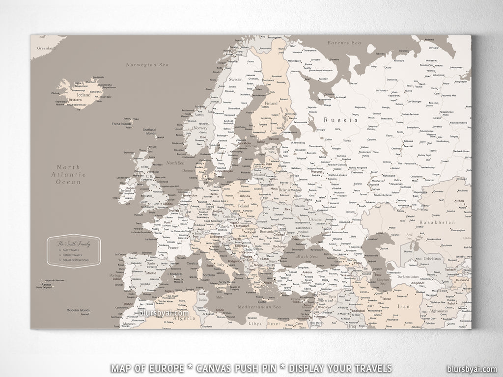 Custom map of Europe with cities, canvas print or push pin map in light earth tones