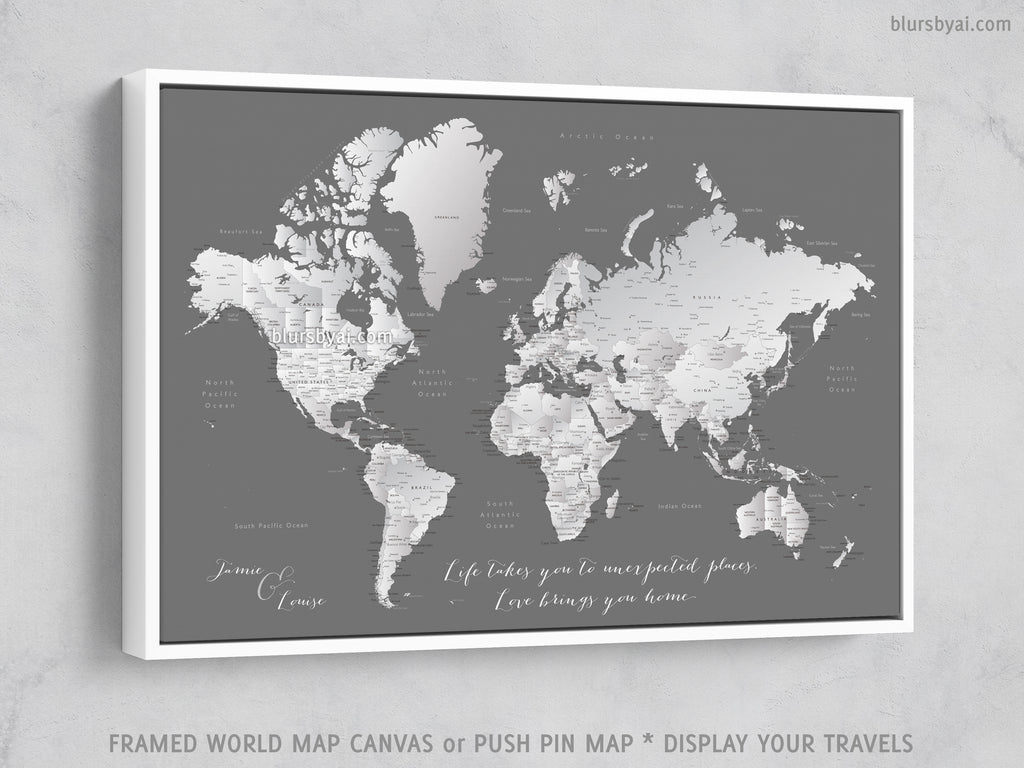 "Custom world map with cities, canvas print or push pin map in grayscale gradient. ""Silver leaf"""