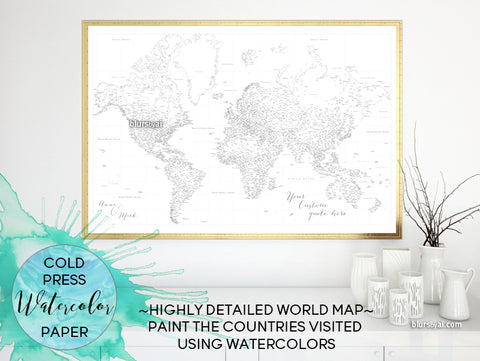 Custom blank world map print in watercolor paper - highly detailed map with cities for coloring with watercolors