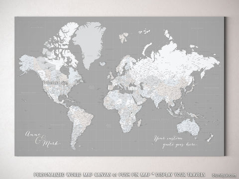 "Personalized large & highly detailed world map canvas print or push pin map in dark grey. ""Hugh"""
