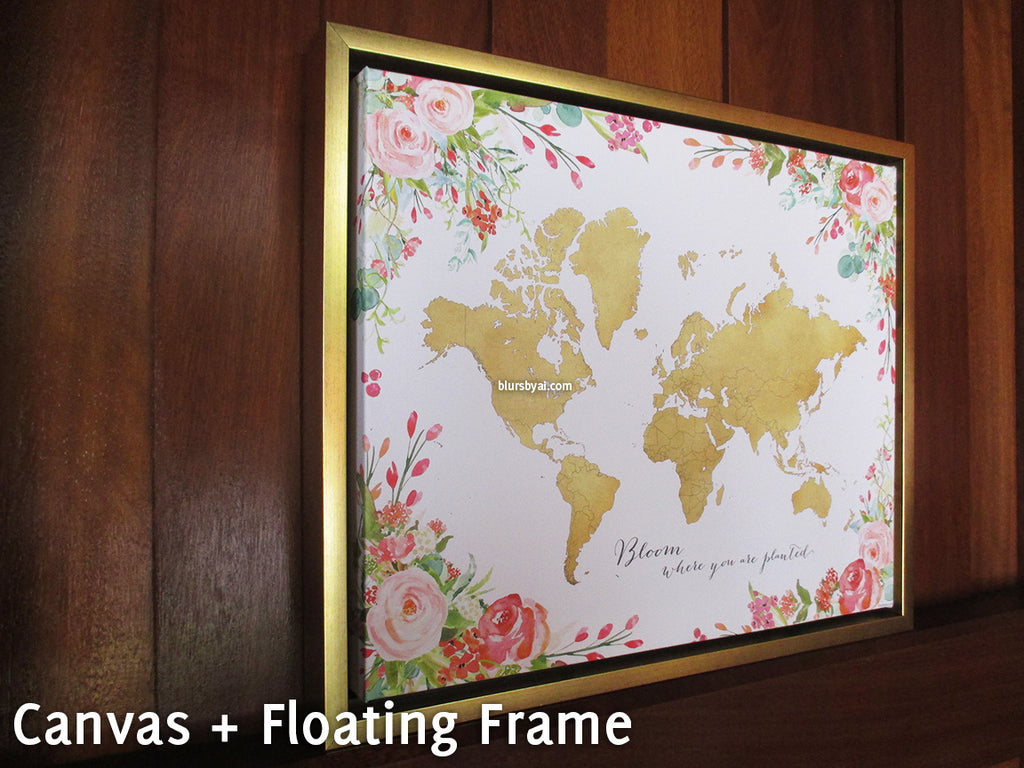 Framed gold world map with watercolor florals canvas print or push framed gold world map with watercolor florals canvas print or push pin map bloom where gumiabroncs Image collections