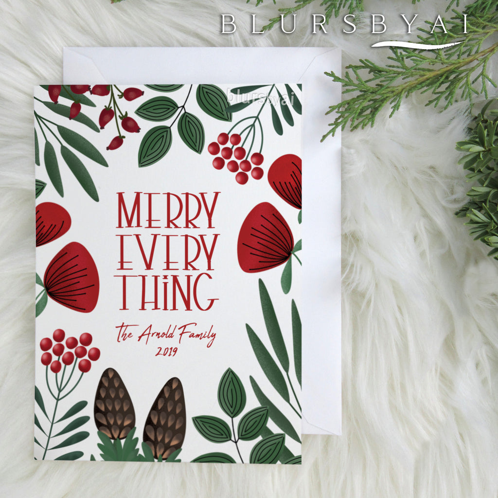 Custom printable Holiday photo card: Merry everything with scandinavian florals