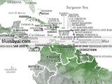 "36x24"" Printable world map with country capitals in green and grey watercolor,  no quote,""Edana"""
