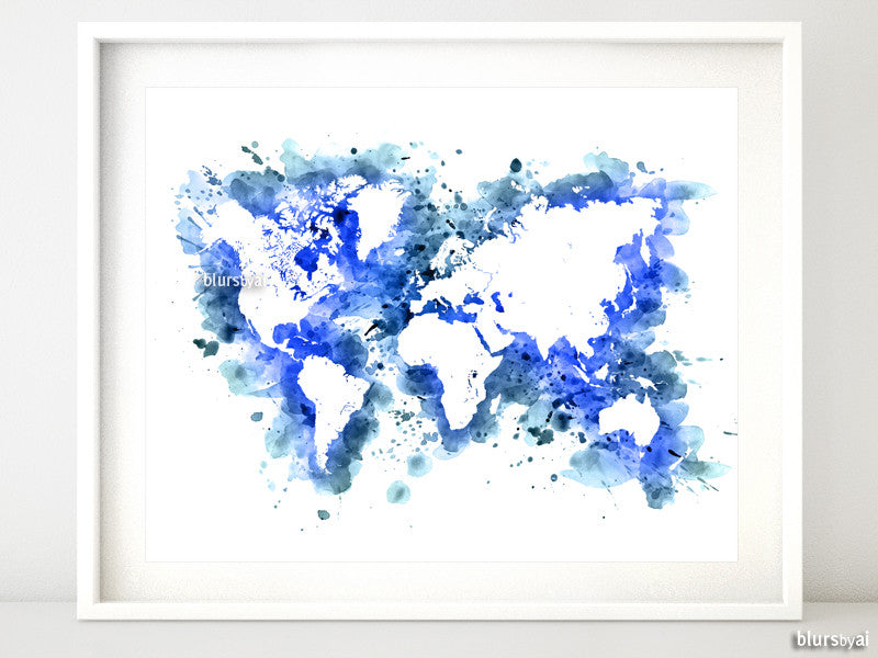 Cobalt blue watercolor world map in distressed strokes - For personal use only