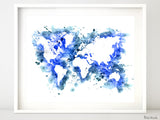 Cobalt blue watercolor world map in distressed strokes
