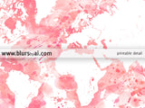 Light pink watercolor world map in distressed strokes