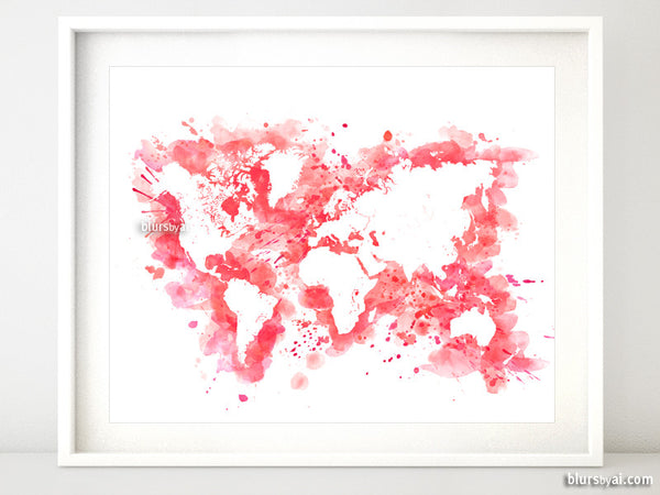 Hot pink watercolor world map in distressed strokes