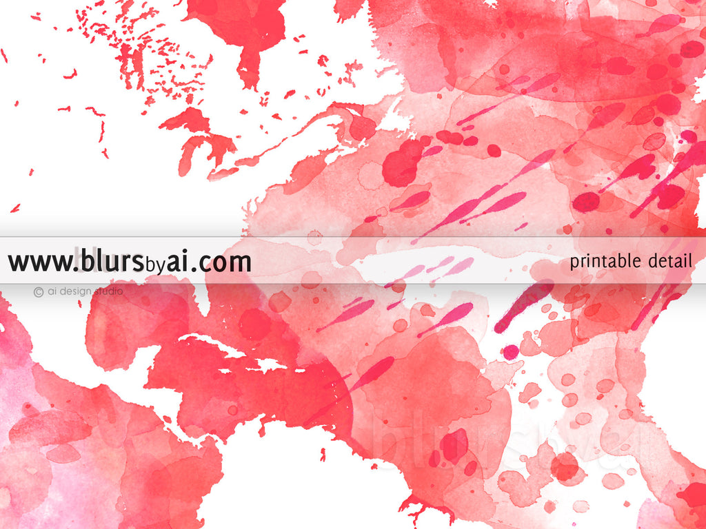 Hot pink watercolor world map in distressed strokes - For personal use only