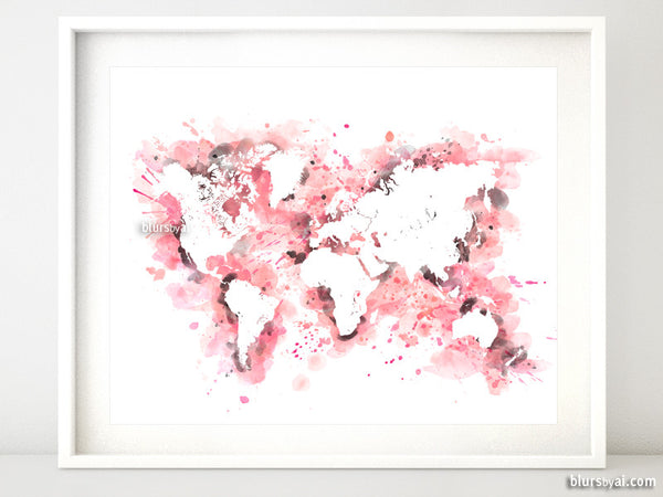Light pink and grey watercolor world map in distressed strokes