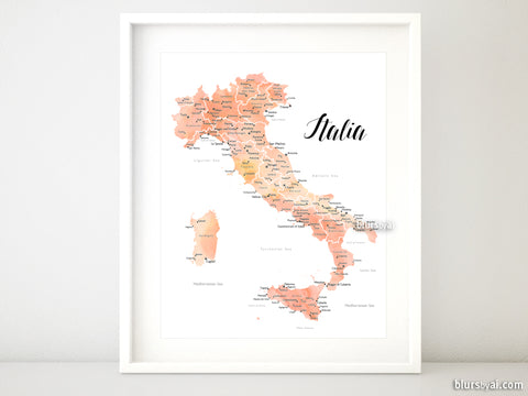 Printable map of Italy, with cities, in rose gold watercolor