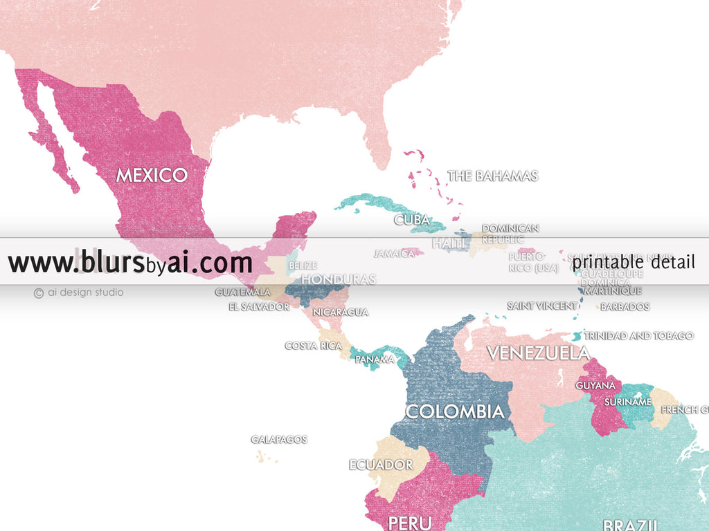 Custom quote printable world map with countries in girly colors and distressed texture color combo carmen color custom quote printable world map with countries in girly colors and distressed texture gumiabroncs Choice Image