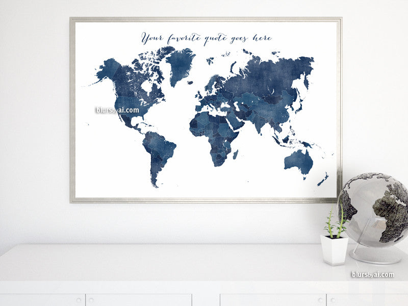 Custom quote - printable world map with countries in dark blue and distressed texture. Color combo: Richard