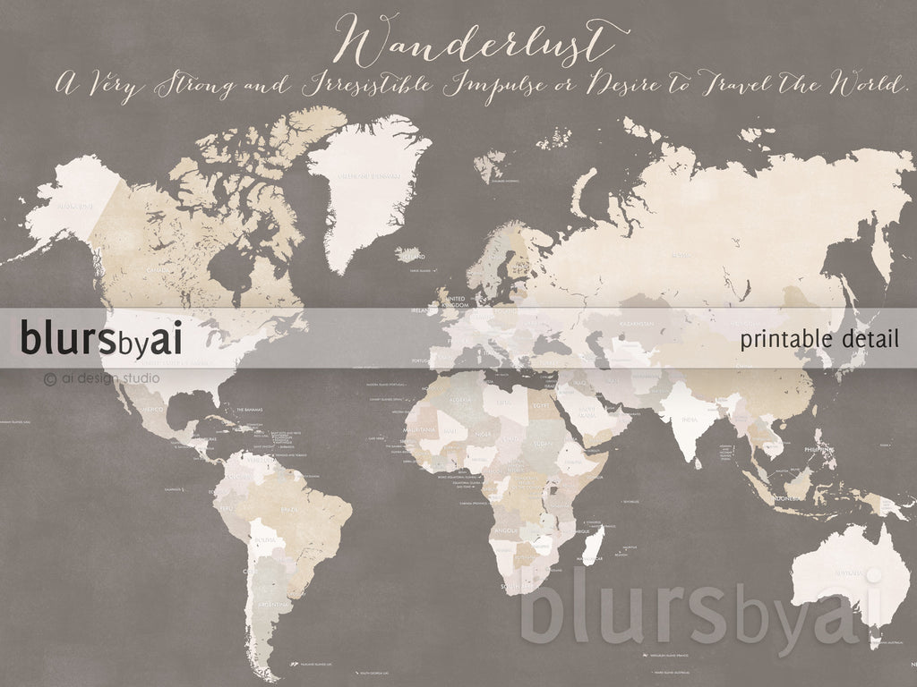 Custom quote color and size world map with countries named in