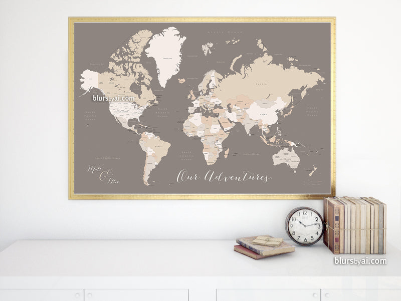 "Custom map print: world map with countries and states in brown and cream. ""Earth tones"""