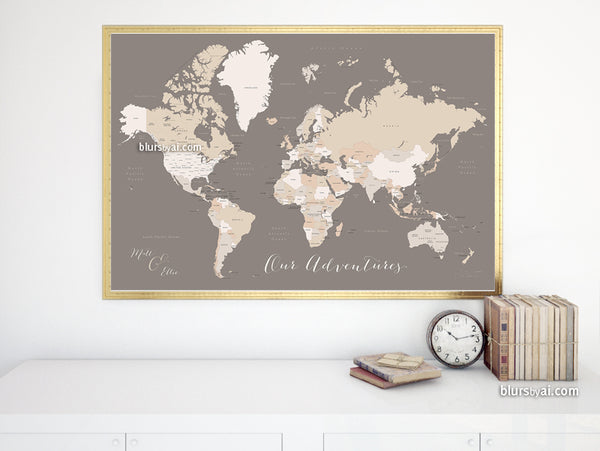 "Personalized map print: world map with countries and states in brown and cream. ""Earth tones"""