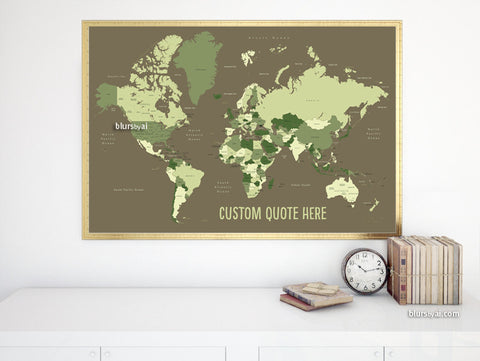 Custom quote - world map, with countries, US States, Canadian provinces, Oceans... labeled. Color combo: Army green.