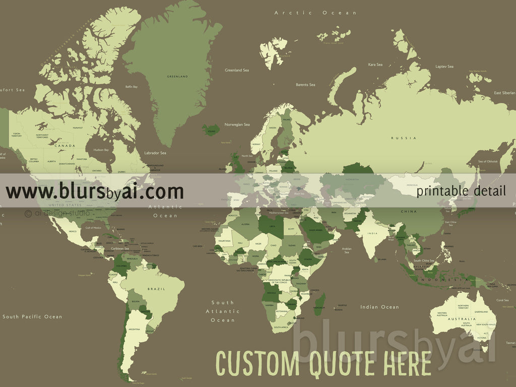 Custom quote world map with Australia Map