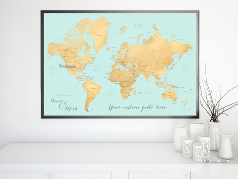 Custom quote - world map, with countries, US States, Canadian provinces, Oceans... labeled. Color combo: aqua and gold foil