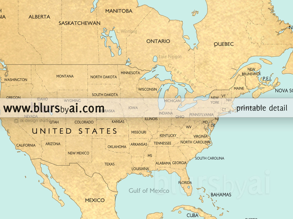 Custom Quote World Map With Countries US States Canadian - Us map and oceans