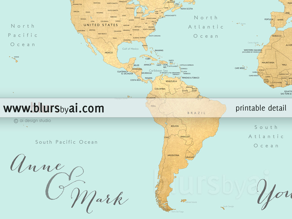 Custom quote - world map, with countries, US States, Canadian ...