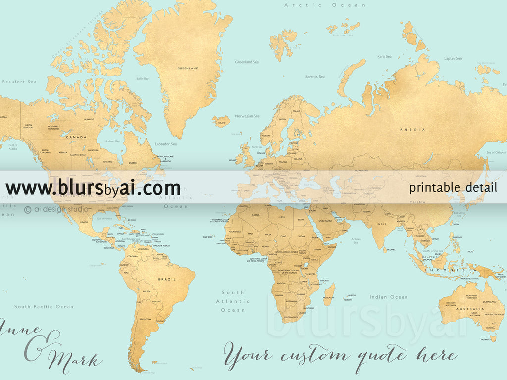 Custom Quote World Map With Countries US States Canadian - Labeled map of us states