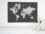 Chalkboard world map PRINTABLE with countries and states labelled, large 30x20""