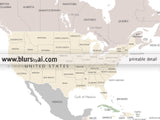 Custom quote - world map with countries and US states labeled. Color combo: Anouk
