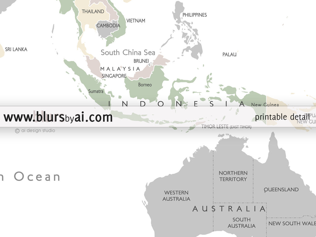 Printable personalized world map with countries and US states