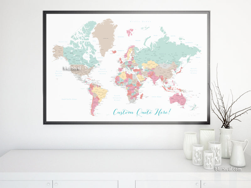 "Custom print: world map with cities in soft colors. ""Pretty pastels"""