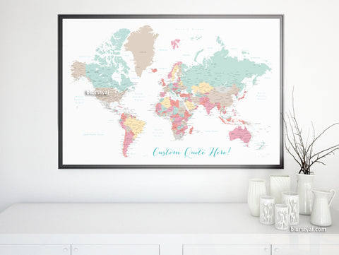 "Personalized print: world map with cities in soft colors. ""Pretty pastels"""