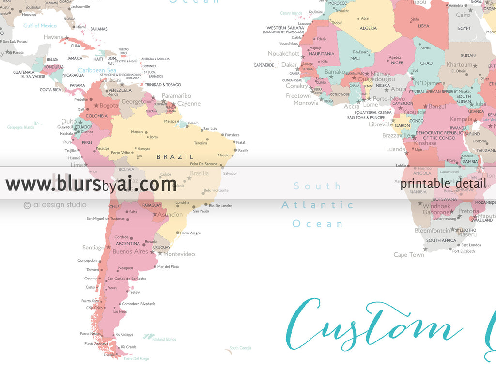 Custom Quote Color And Size World Map With Cities Capitals - Argentina map to print