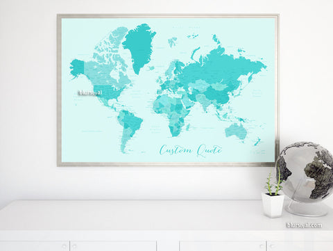 Custom quote - world map with cities, capitals, countries, US States... labeled. Caribbean waters.