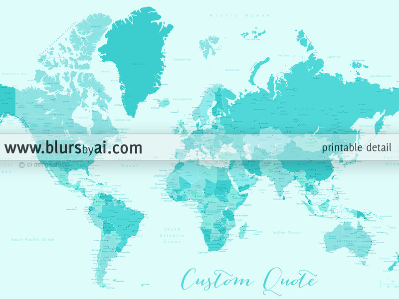 Custom color art print on paper: bespoke world map with cities