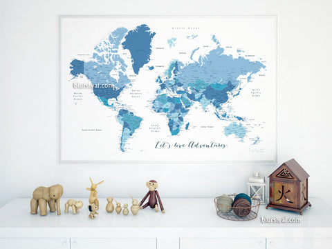 Custom quote - Printable world map with cities, capitals, countries, US States... labeled. Shades of blue map. Ethan