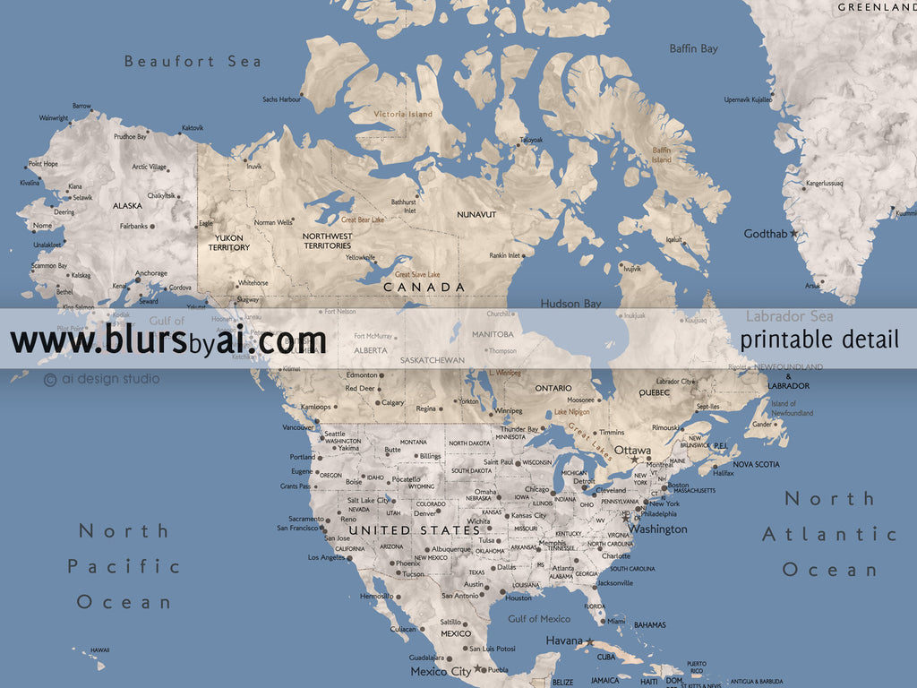 Personalized world map muted blue earth tones watercolor world custom quote muted blue earth tones watercolor world map with cities capitals publicscrutiny Gallery