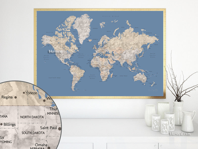 Printable watercolor world map with cities in neutrals and muted blue, large 60x40""