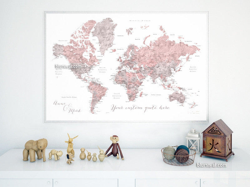 Personalized world map printable art dusty pink and grey custom quote dusty pink and grey watercolor printable world map with cities capitals gumiabroncs Choice Image