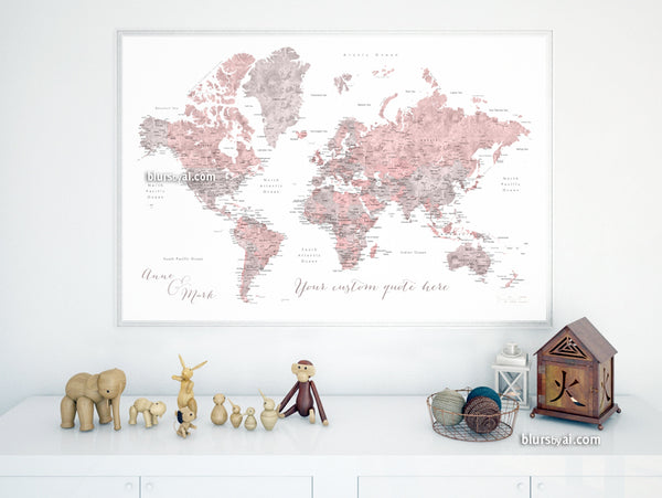 "Personalized print: world map with cities in dusty pink and grey. ""Piper"""