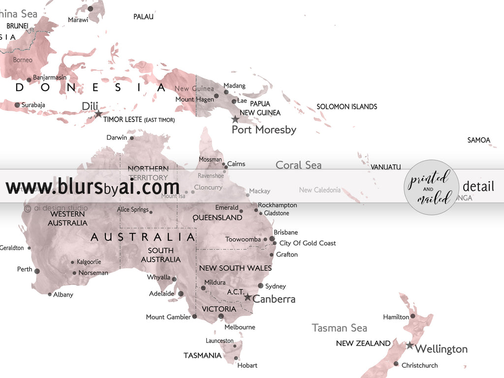 Personalized world map with cities canvas print or push pin map in personalized world map with cities canvas print or push pin map in dusty pink and gumiabroncs Image collections