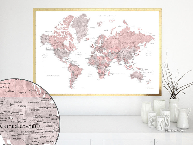 Dusty pink and grey printable watercolor world map with cities and