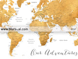 "Custom quote - dark gold printable world map with cities, capitals, countries, US States... labeled. ""Medea"""